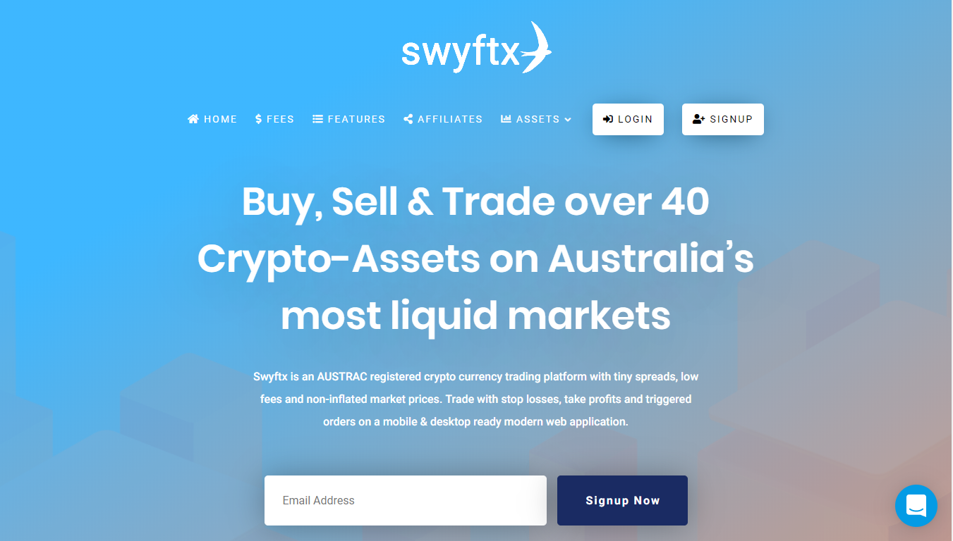 picture of Swyftx homepage